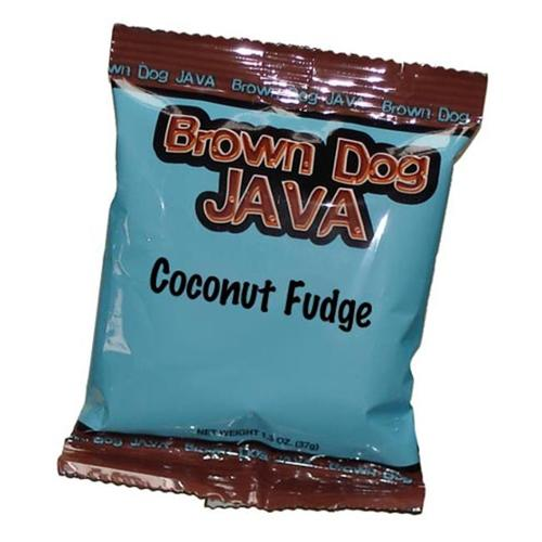 Brown Dog Java 200323 Coconut Fudge Flavored Coffee, 24 Single Pot Packets