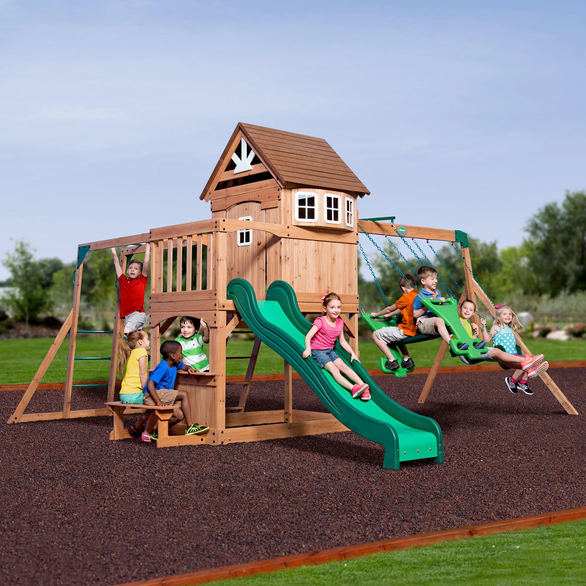 Backyard Discovery Monticello Cedar Swing Set backyard discovery montpelier cedar wooden swing set - walmart