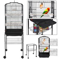Zeny 59'' Bird Cage Large Wrought Iron Cage for Cockatiel Sun Conure Parakeet Finch Budgie Lovebird Canary Medium Pet House with Rolling Stand