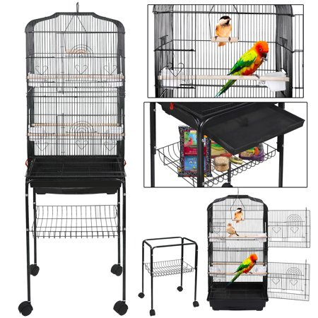 Zeny 59'' Bird Cage Large Wrought Iron Cage for Cockatiel Sun Conure Parakeet Finch Budgie Lovebird Canary Medium Pet House with Rolling