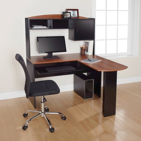 Mainstays L Shaped Desk With Hutch And Keyboard Tray Walmartcom