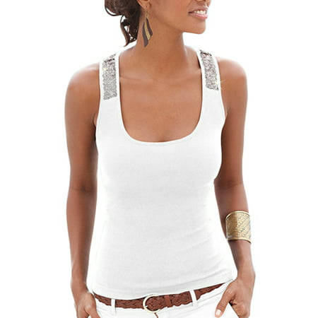 Women Sleeveless Shirts Sleeveless Square Collar Tank Top Summer Shirts Stitching Milk Silk Sleeveless Top Vest