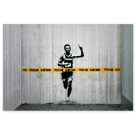 Awkward Styles Banksy Graffiti Art Banksy's Painting Police Line Do Not Cross Printed Canvas Decor British Street Art Style Street Artist Banksy Painting Ready to Hang Picture for Bedroom (The History Of Graffiti And Street Art)