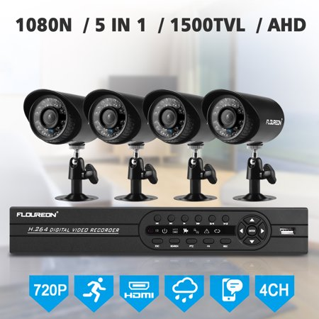 FLOUREON 4CH Full HD Indoor Outdoor CCTV 1080P Security Camera System DVR Kit with Four Waterproof WIFI WLAN 1.0MP 720P HD IR Bullet IP Cameras Security Video Recorder NVR System (Black) Dvr Observation System