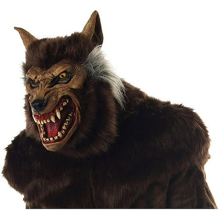 Brown Wolf Mask (Werewolf Deluxe Adult Halloween Mask)
