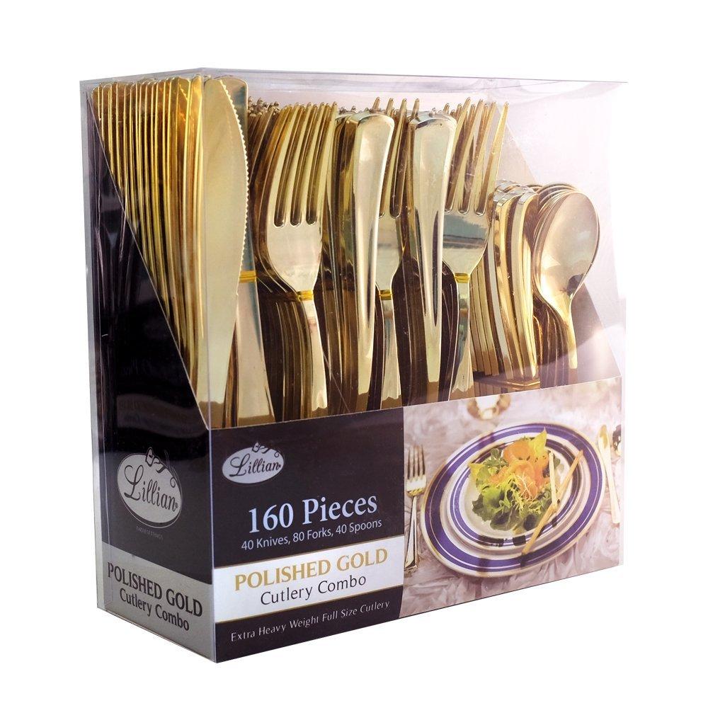 Lillian Polished Gold Combo Cutlery Box 160 Ct