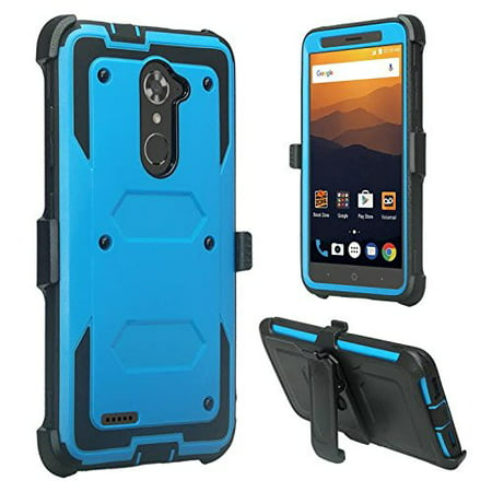 ZTE Max Blue 4G LTE, ZTE Max XL Case, ZTE Blade Max 3 Case, [Shock Proof] Heavy Duty Belt Clip Holster, Full Body Coverage with Built In Screen Protector / Rugged Dual Layer Protection -