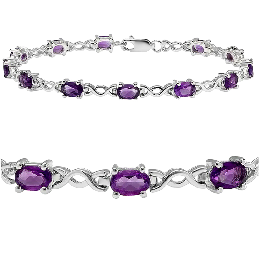 5cttw. Amethyst Infinity Tennis Bracelet set in Sterling Silver ( 7 1 4 inches) by