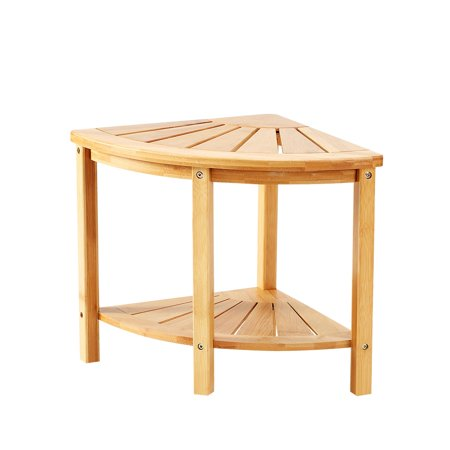 Natural Bamboo Corner Shower Bench Seat with Storage - Shower Valve Seats