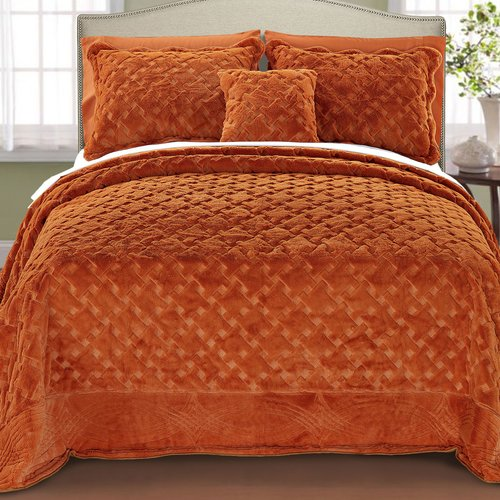 Darby Home Co Cara 4 Piece Quilted Faux Fur Coverlet Set DBYH8466 Size: Queen, Color: Burnt Orange