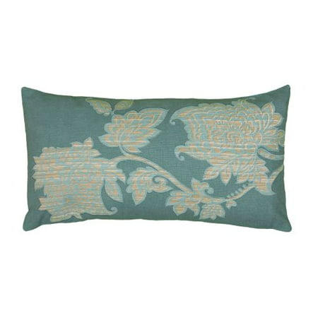 Rizzy Home Printed with Floral Embroidery Details Decorative Throw Pillow