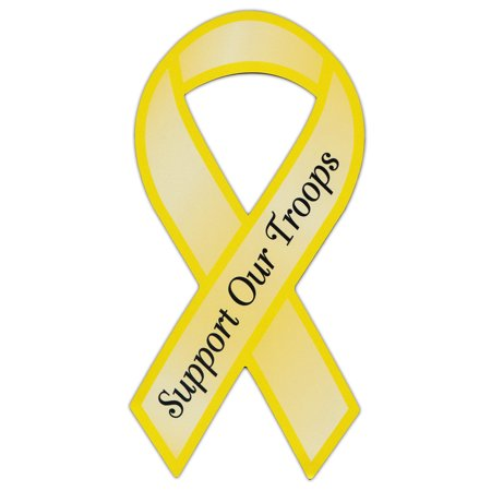 Yellow Refrigerator - Ribbon Shaped Yellow Military Magnet - Support Our Troops - Cars, Trucks, SUVs, Refrigerators