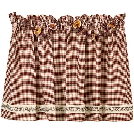 Burgundy Berry Vine Wine Check Unlined Curtain Tiers, 24
