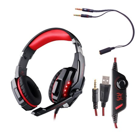 [Update Version] PC PS4 Phone Gaming Music Headphone, EACH G9000 3.5mm Game Gaming Headset Microphone LED Light with Combo Connector for Sony PlayStation 4 Laptop Computer Tablet