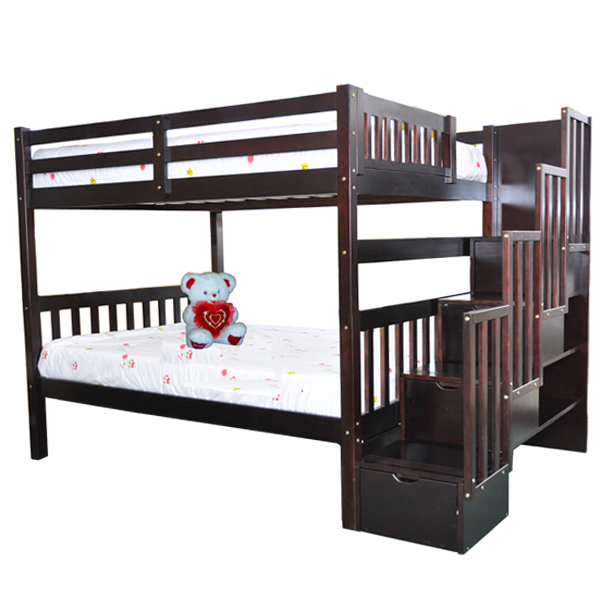 Staircase Full Over Full Bunk Bed With Trundle