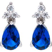 JCL Design Sterling Silver Created Sapphire and Ruby Cubic Zirconia Drop Earrings