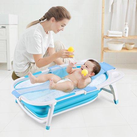 Magic Bath Baby Jacuzzi.Gymax Blue Baby Folding Bathtub Infant Collapsible Portable Shower Basin W Block