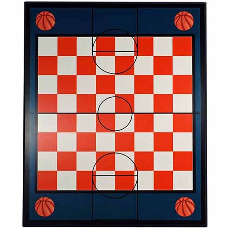 Basketball Theme Chess and Checkers Board, Blue, Brown and Ivory, 21