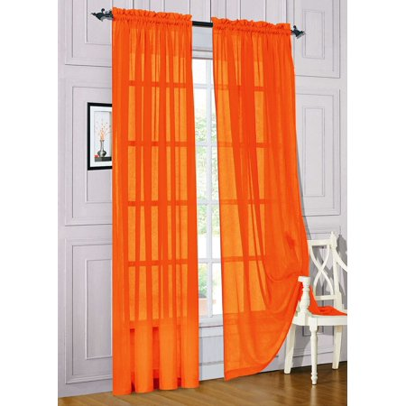 "Set of 2 Sheer Voile Window Curtain Panels, 84"" Long, Orange"