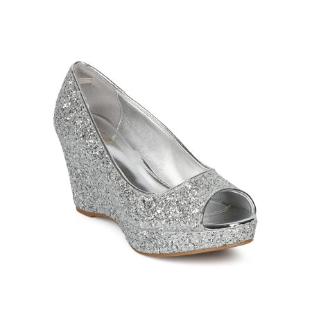 New Women Celeste Hedy-07 Glitter Encrusted Peep Toe Platform Wedge Heel