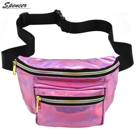 Spencer Women PU Laser Waist Bag Rave Festival Hologram Bum Travel Fanny Waist Pack (Pink)