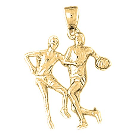 Yellow Gold-plated 925 Sterling Silver Basketball Player Pendant - 28 mm (Approx. 1.87 -