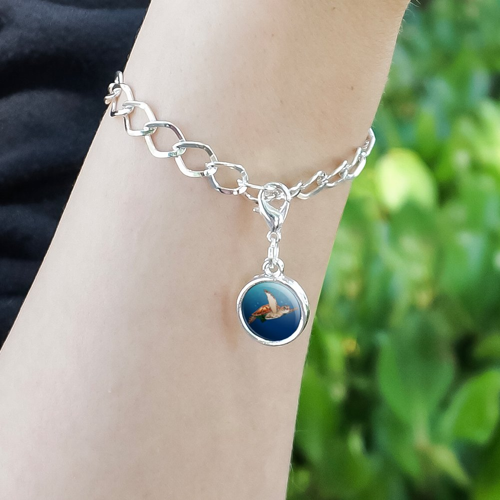 GRAPHICS /& MORE Sea Turtle Swimming in Ocean Antiqued Bracelet Pendant Zipper Pull Charm with Lobster Clasp