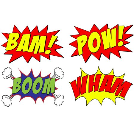 VWAQ Comic Book Set Of 4 Wall Decal Sound Effects Comic Book Bam Pow Boom Wham Pack Of Superhero Vinyl Wall Art Peel And Stick Stickers VWAQ-CB5 (10