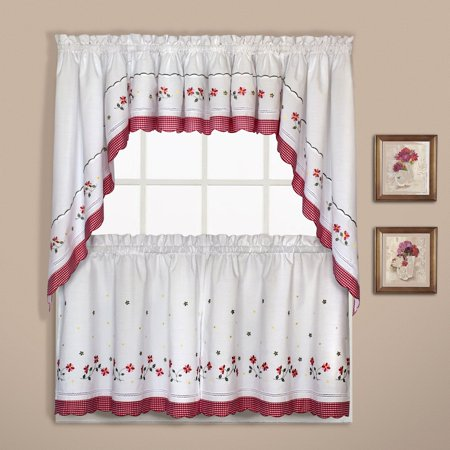"""GINGHAM 60"""" X 38"""" WINDOW CURTAIN PAIR OF CAFE KITCHEN SWAGS RED"""