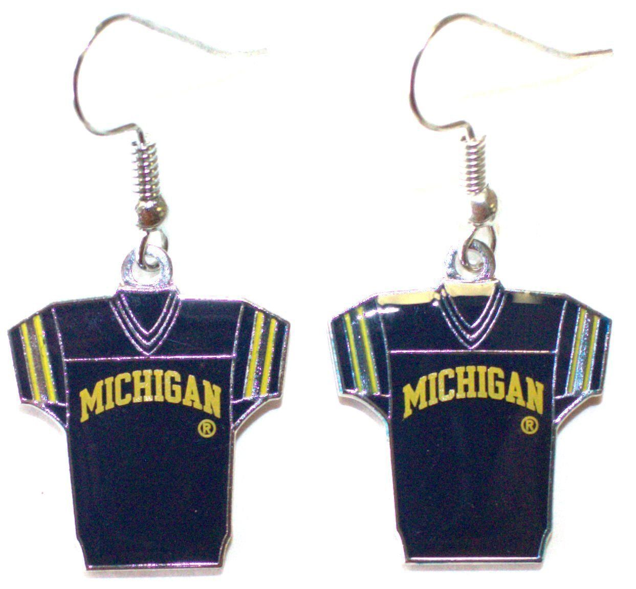 NCAA Officially Licensed Michigan Wolverines Jersey Style Dangle Earrings
