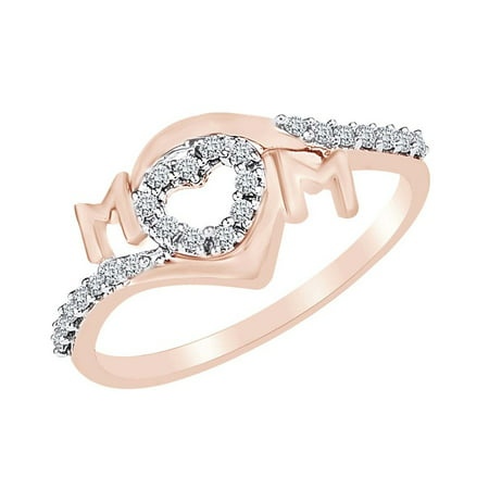 Open Round Ring (0.16 Cttw Round Cut Natural Diamond Open Heart Mom Ring In 14k Rose Gold Over Sterling Silver-7.5 )