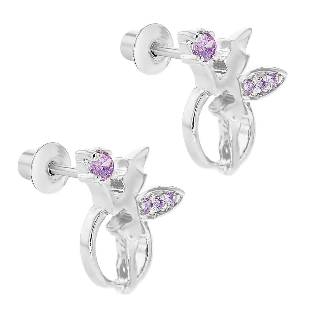 Rhodium Plated Purple Crystal Fairy Magic Screw Back Stud Girls Earrings - image 3 de 4