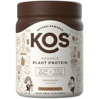 KOS Organic Plant Based Protein Powder, Chocolate, 20g Protein, 10 Servings, 13.75oz, 0.85lb
