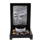 Tabletop Silver Buddha Face Zen Garden Rock Candle Holder Gift & Home Decor