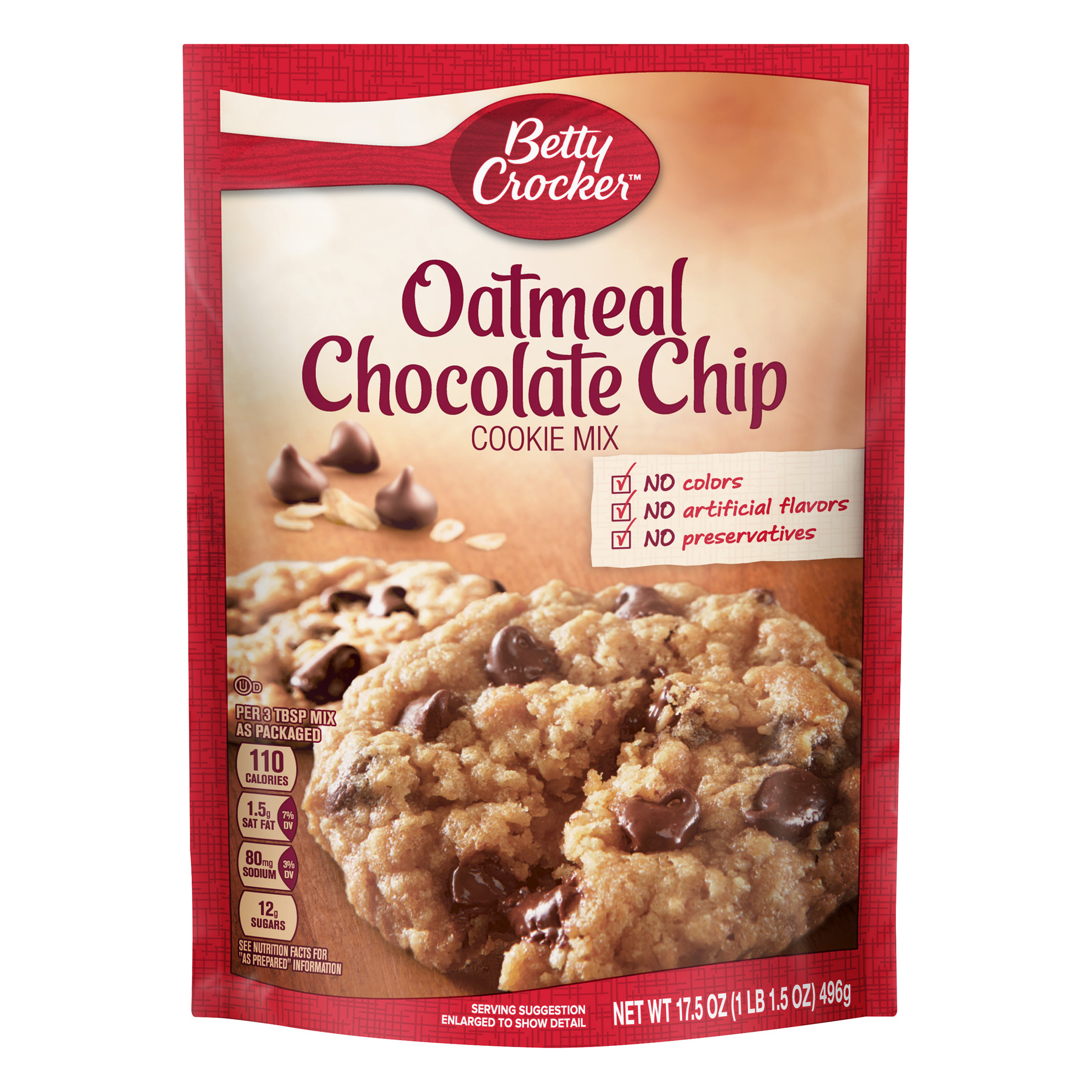 Betty Crocker Oatmeal Chocolate Chip Cookie Mix, 17.5 oz