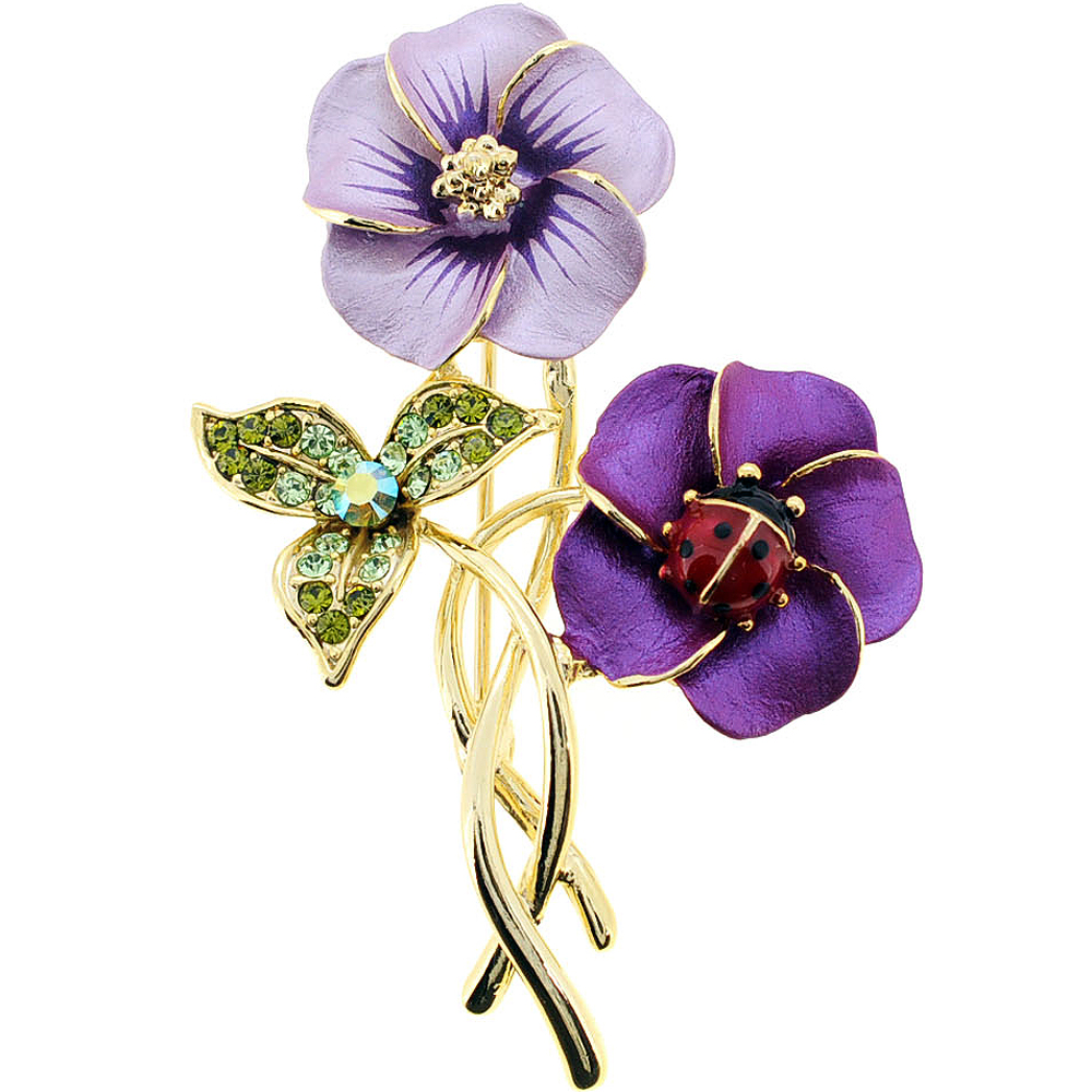 Purple Hawaiian Flower With Red Ladybug Swarovski Crystal Pin Brooch by