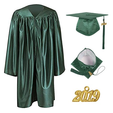TOPTIE Unisex Shiny Preschool and Kindergarten Graduation Gown Cap Tassel Set 2019 Costume Robes for Baby