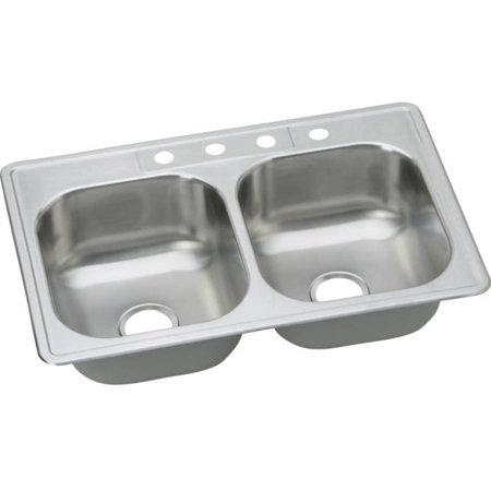 Stainless Single Hole (Elkay DSE233221 Dayton Elite Stainless Steel Double Bowl Top Mount Sink with Single Faucet Hole, Elite)