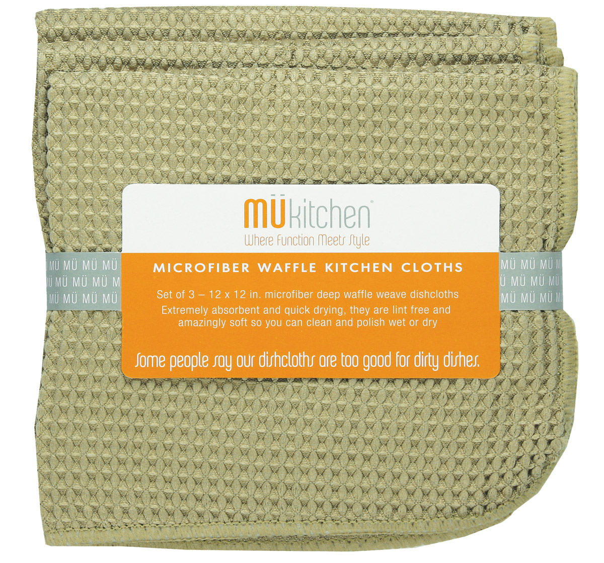 MUkitchen Microfiber Waffle Dishcloth 12 by 12-Inches Set of 3 Pebble