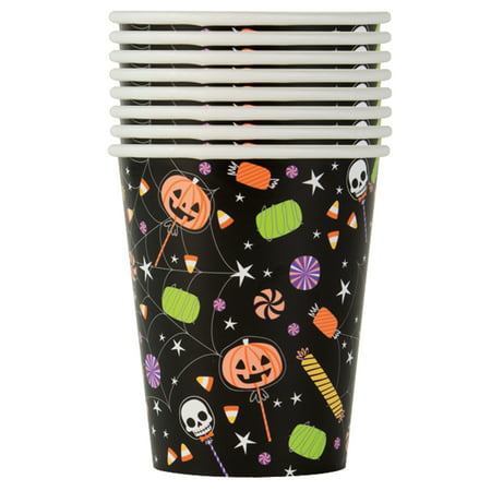 Cute Fast Halloween Treats (Skeleton Trick or Treat Halloween Paper Cups, 9 oz,)