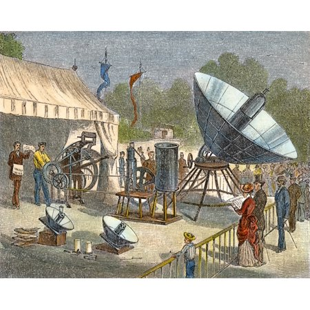Solar Energy 1878 Na Printing Press Powered By The Solar Engine Of Augustine Mouchot At The Universal Exposition At Paris 1878 Wood Engraving American 1884 Rolled Canvas Art     24 X 36