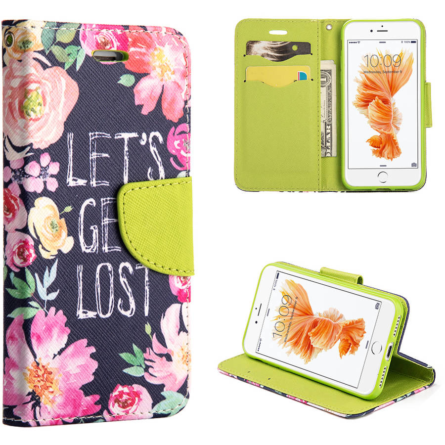 MUNDAZE Let's Get Lost Flowers Wallet Case for Apple iPhone 7 Plus