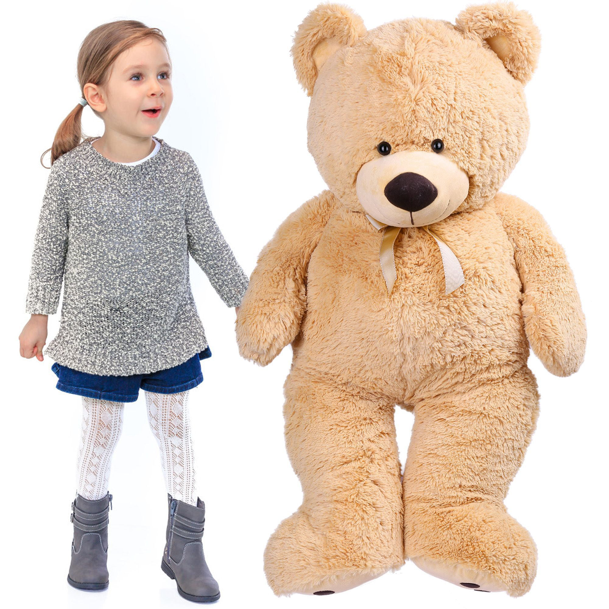 1.4 FT Cute Teddy Bear, Soft Small Stuffed Animal Plush Toy, Birthday Gifts for Kids, Beige by LotFancy