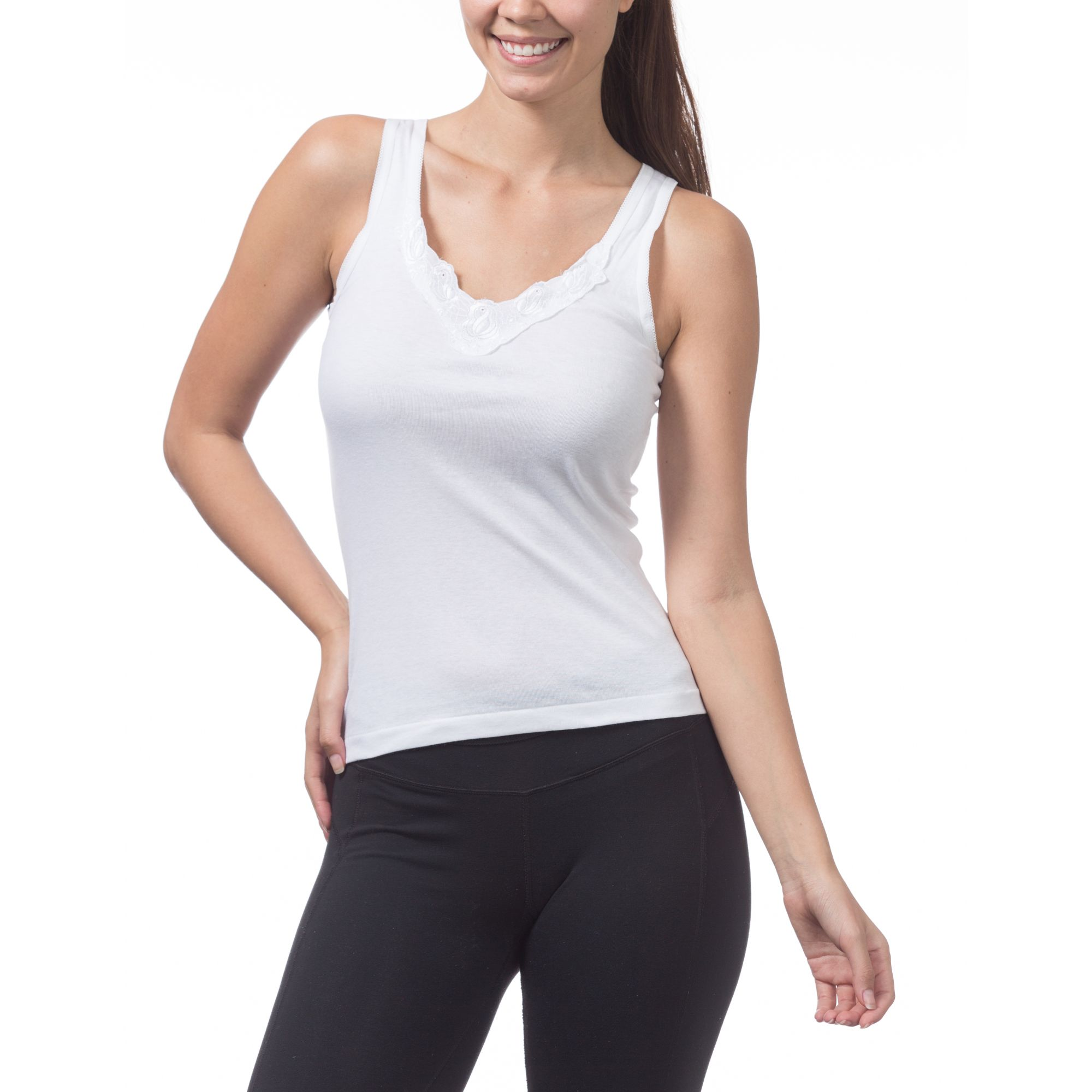 Pro Club Women's Laced Tank Top, Small, Snow White