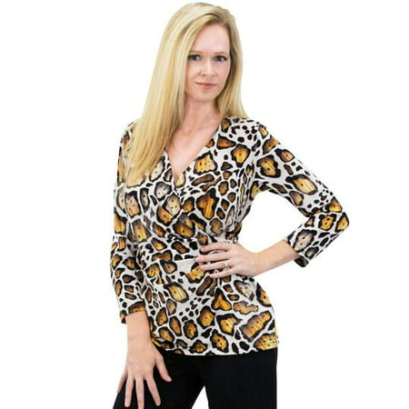 - Women's Solid/Print V Neck 3/4 Sleeve Knit Front Drape Wrap Jersey Tops Side Shirring Blouse( Gold prints)