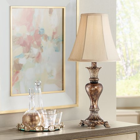Regency Hill Traditional Accent Table Lamp Warm Bronze Urn Footed Base Natural Tone Bell Shade for Living Room Family Bedroom