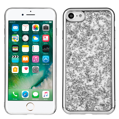 Silver Chrome Glitter Flakes Case For Apple iPhone 7 Phone