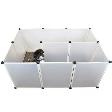 - Best Pet Playpen, Large Plastic Fence for Small Animals, Dogs, Popup Fence Indoor White Plastic 12 Panel by Dowtown Pet Supply