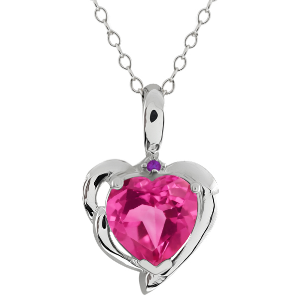 2.22 Ct Heart Shape Pink Mystic Topaz Purple Amethyst 18K White Gold Pendant by