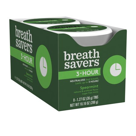 Breath Savers, 3 Hour Spearmint Mints, 1.27 Oz (Pack of 8)